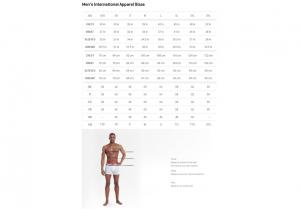 Men's International Apparel Size Chart